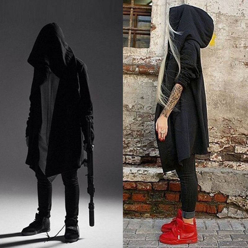 Spring and autumn thin dark Department mens personality medium and long wind clothing dark Assassin Cape Hoodie large student fashion coat