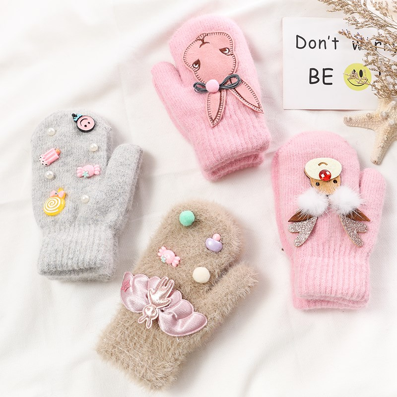 Gloves for children in winter girls with plush, warm and antifreeze rabbit hair and mink hair