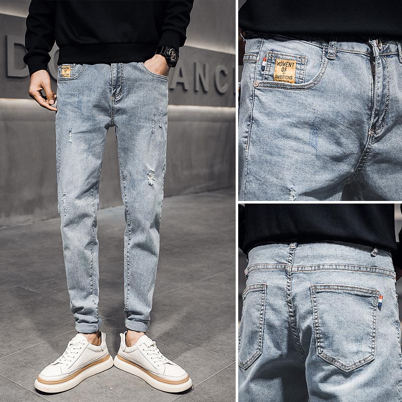 新款牛仔裤2021春季男韩版修身潮流铅笔小脚裤水洗牛仔裤 N02 P65