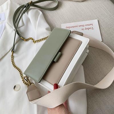 夏季上新撞色链条包包女2019新款韩版百搭单肩斜挎时尚质感小方包