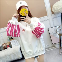 Spring New College Wind and Round Neck Printing Bubble Sleeve Loose Sanitary Wardrobe Women's Sleeve Sanitary Wardrobe Sweater Packing Mail