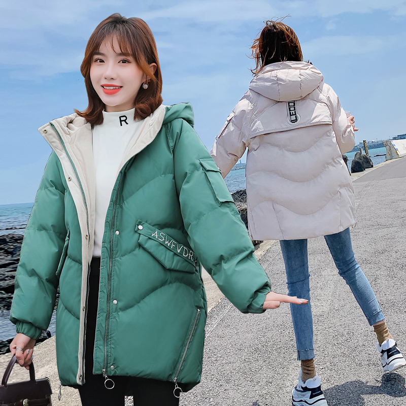 2019 new anti season mid long Korean cotton clothes ins bread clothes cotton padded jacket loose and thickened cotton coat womens wear
