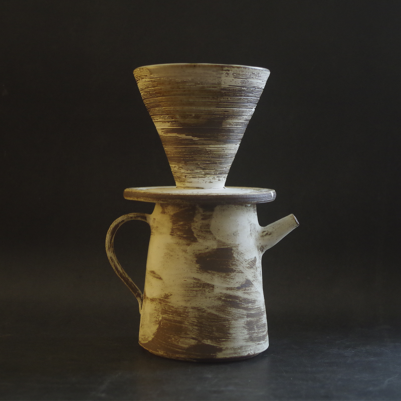 Japanese make-up clay, hand-made coffee filter cup, ceramic suit, dripping filter paper filter cup, cicada ware