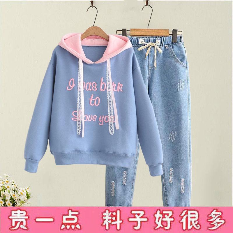 初中春季学生套装女装少女牛仔裤卫衣两件套青少年女孩休闲运动服