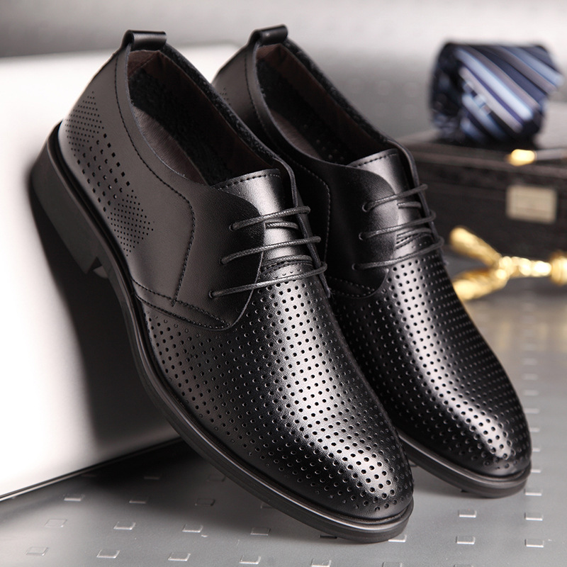 45 46 large leather shoes for summer mens hollow air piercing shoes business leather hole shoes