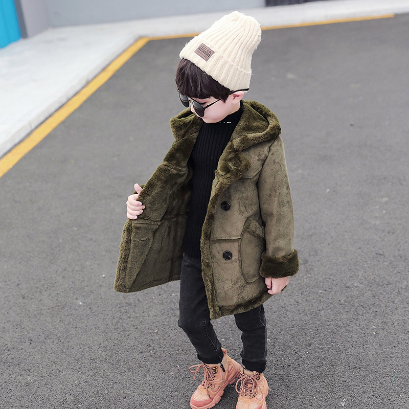 Boys Plush coat 2020 new winter childrens Suede medium length thickened windbreaker autumn and winter western style coat