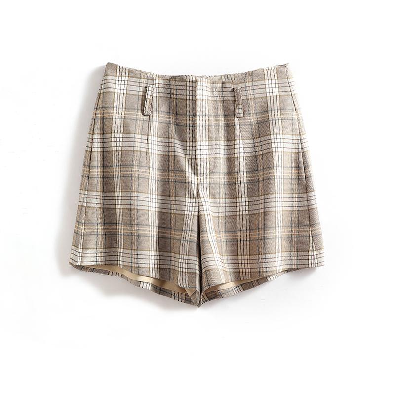 恩系列●格子阔腿超短裤气质职业装淑女休闲裤夏季品牌折扣女装