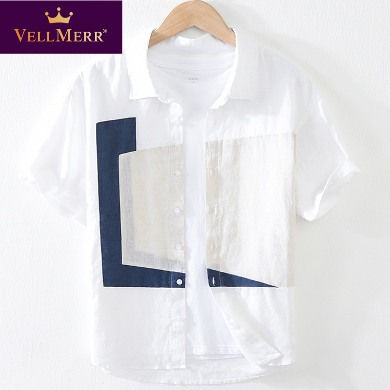 Linen short sleeve T-shirt with a cool and fashionable shirt collar cotton linen T-shirt hy0924