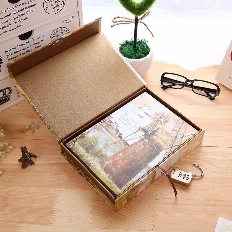 记事本盒装密码记事本精装硬面抄笔记本 欧式复古带锁日记本