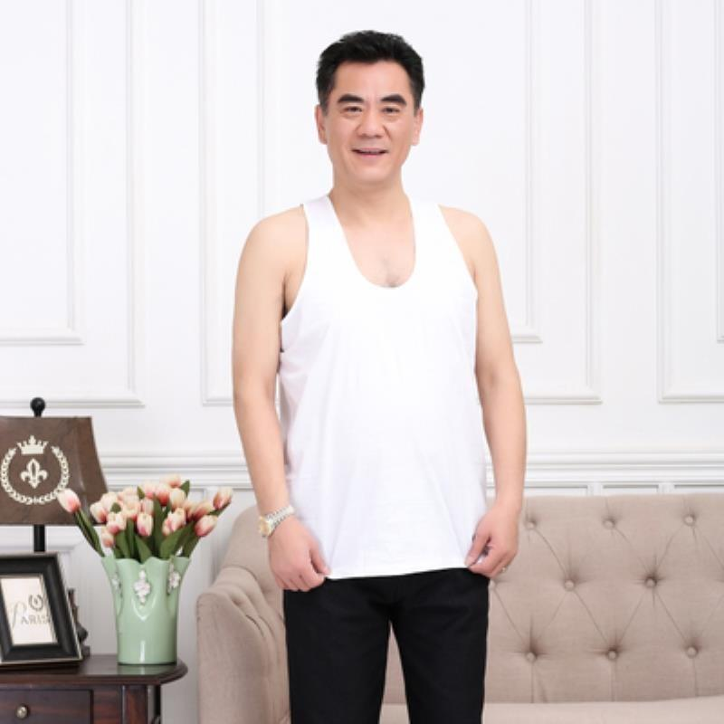 Home clothes for the elderly mens bottom basket vest pure cotton sweat absorption loose mens summer sports