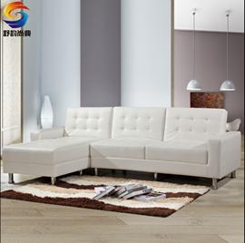 北欧日式沙发小户型时尚皮艺折叠沙发床 多功能组合沙发带贵妃位图片