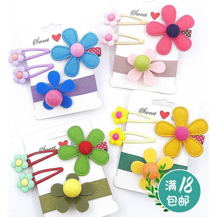 宝宝发卡发圈组合韩版花朵头饰头花碎发刘海边夹儿童亲子发夹皮筋