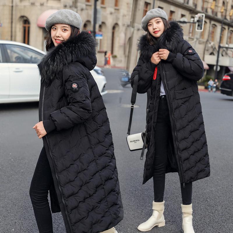 反季清仓棉服女2019新款冬季宽松加厚刺绣中长款大毛领羽绒棉衣