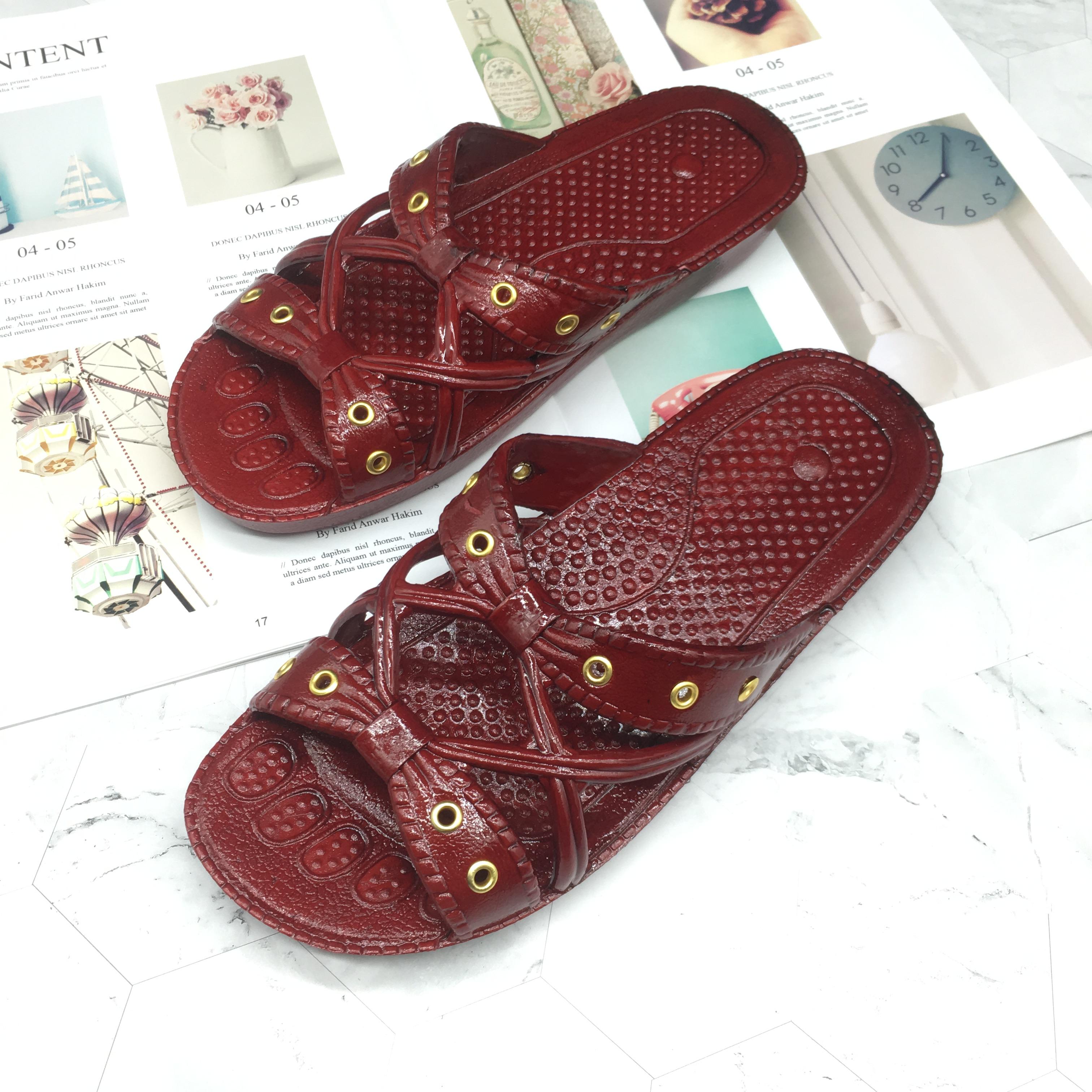 奶奶拖鞋防滑防污居家一字拖凉拖鞋酒红色日常居家拖鞋厂家直销