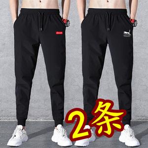 夏季薄款束脚裤韩版潮流男士修身小脚裤子9九分哈伦裤休闲运动裤