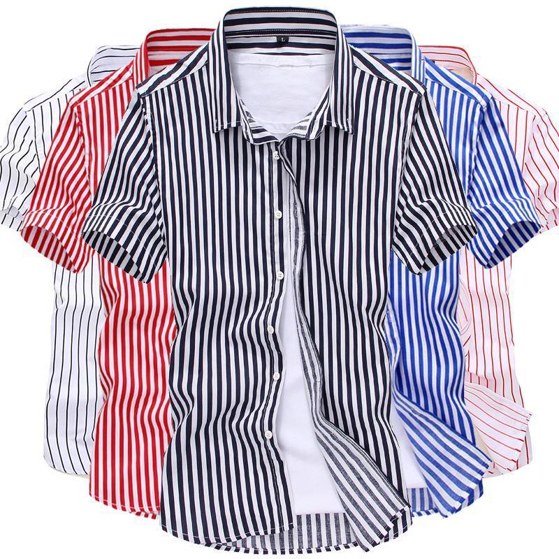 夏季男士短袖衬衫修身韩版碎花衬衣休闲印花半袖寸衫潮男装 薄