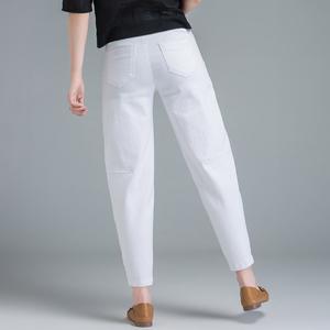 白色牛仔裤女夏季薄款米白裤子宽松女士萝卜裤休闲哈伦裤女九