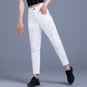 八分牛仔裤女夏季薄款白色裤子夏天女裤休闲九分裤老爹萝卜哈