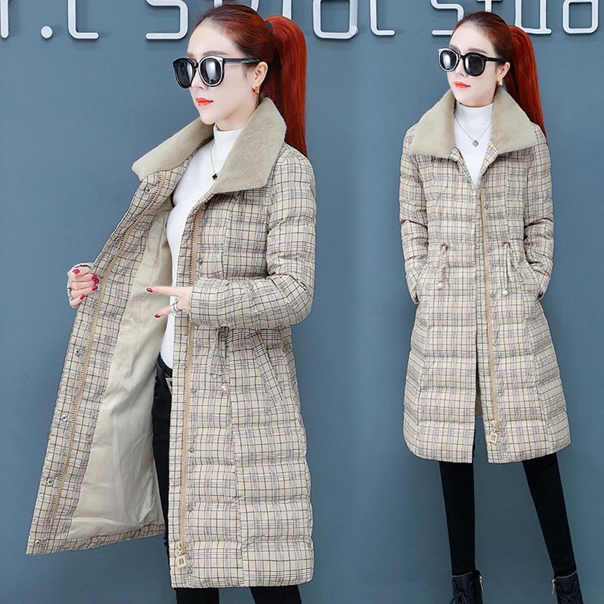 2020新款冬天女土羽绒棉服网红棉衣中长款格子修身派克显瘦棉袄潮