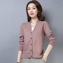 Knitted sweater jacket with long sleeves