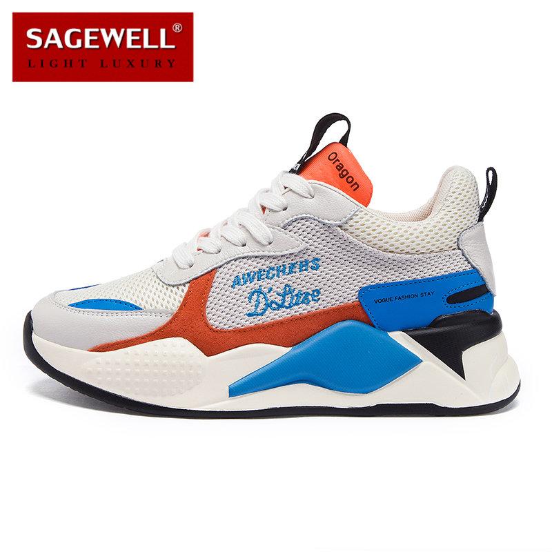 SAGEWELL2019夏季老爹鞋女鞋增高厚底运动鞋跑步鞋休闲鞋ML0630,可领取100元天猫优惠券