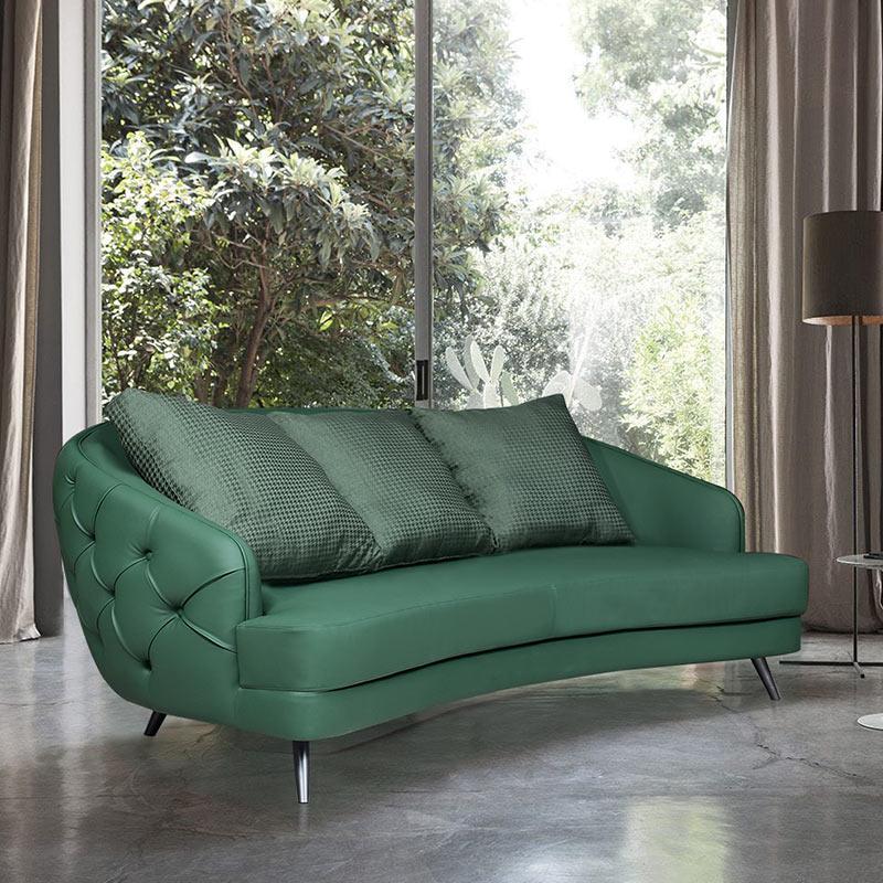 Leather sofa head leather modern simple three person living room leather sofa Italian furniture light luxury retro sofa