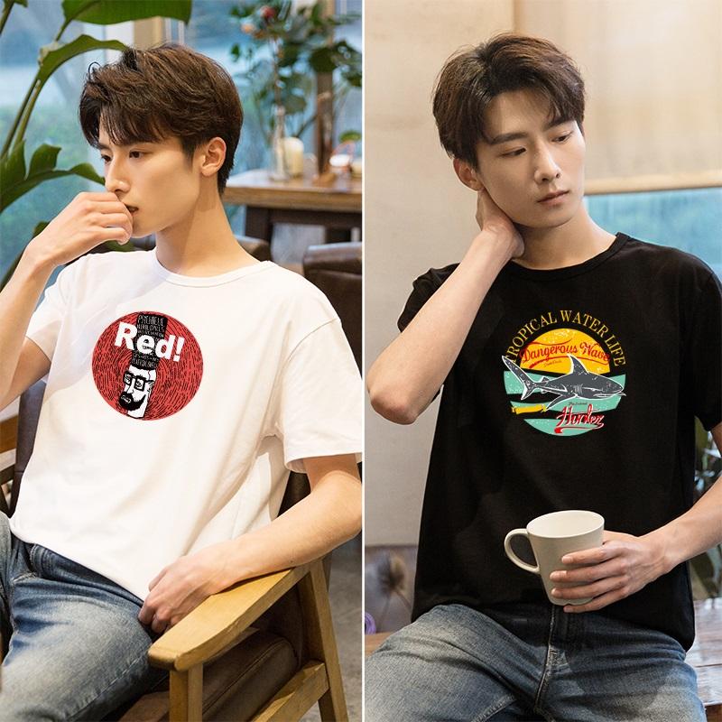 2件】t恤男短袖夏季2019新款韩版潮流半袖衣服宽松体恤衫男装上衣
