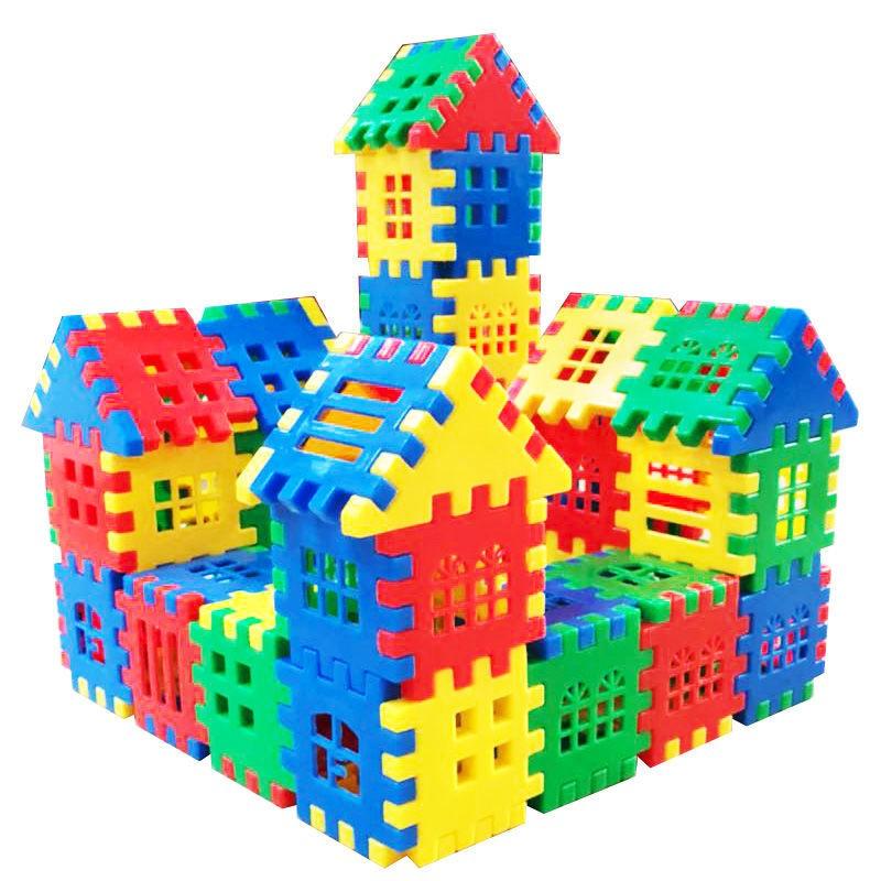 3-9岁儿童房屋构建拼插积木大块DIY益智拼插玩具幼儿园手工拼图