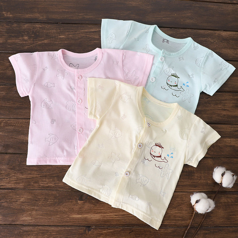 Baby short sleeve boys and girls baby T-shirt summer newborn 0 to 12 months clothes thin button half sleeve cardigan