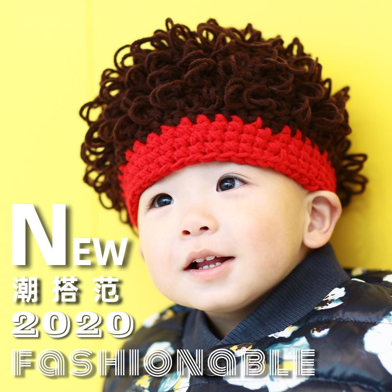 ベビー帽子6-12月赤ちゃん秋冬純綿毛糸可愛い超萌え男女子供保温性かつら帽子