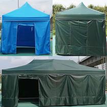 加粗户外军绿停车遮阳棚雨棚折叠摆摊大方伞四脚加厚排档围布帐篷