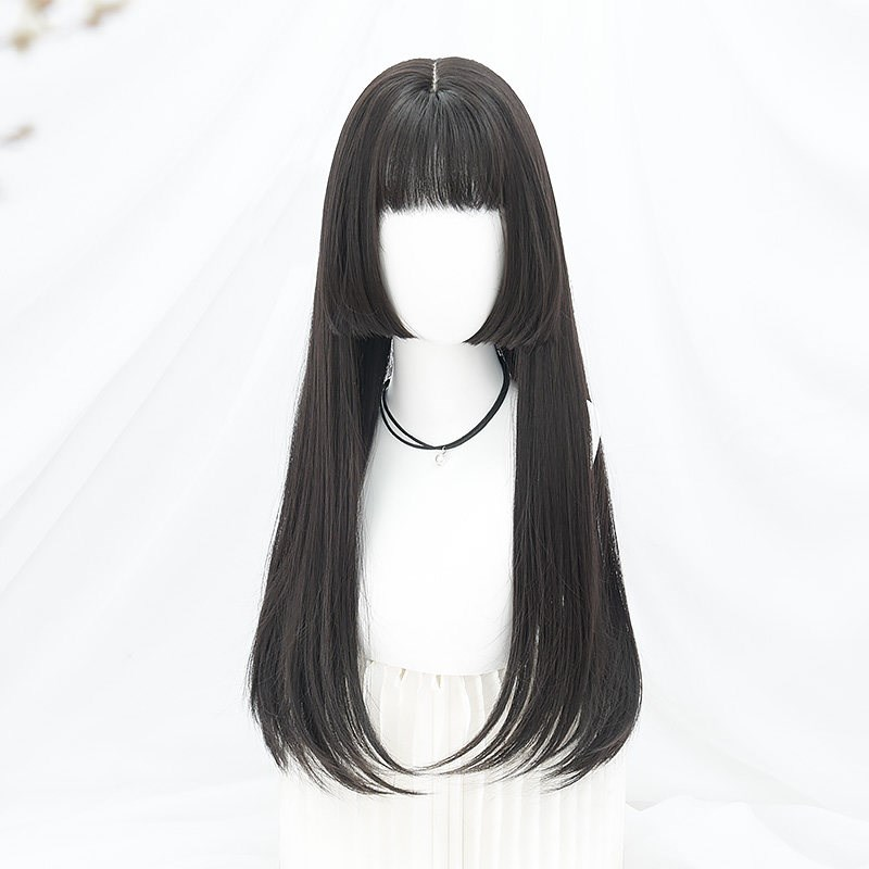Soft sister Lolita wig style fake double horse tail long straight hair girl Lolita girl cos wig girl