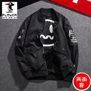 Plover2018新款夹克男欧美潮流秋季商务男脚宽松黑色双面穿外套