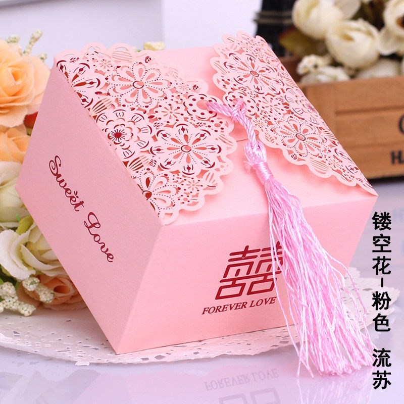 Wedding candy box, net red personality cake, three piece set, western style gift bag for colleagues, empty box rose
