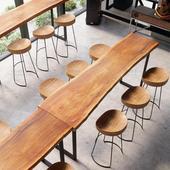 个性酒吧桌子时尚精致创意餐厅客厅原木靠墙家用组合实木现代阳台