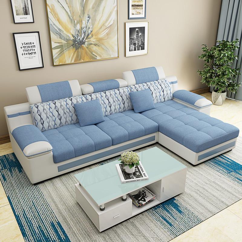 可可里布艺沙发客厅组合整装简约现代大小户型可拆洗转角三人沙发券后1280.00元