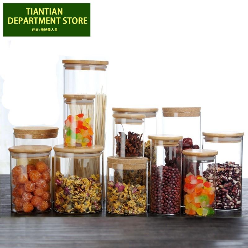 Round Glass Tea Jar Food Storage Box Preservation Container