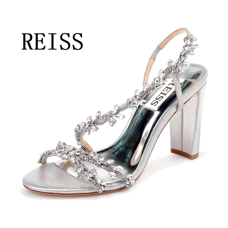 Reiss shoes new suede leather Rhinestone peep toe thick heel high heel side band wedding shoes silver sandals