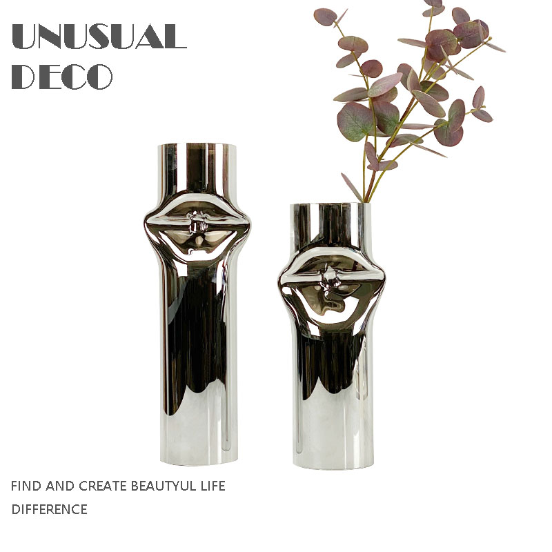 Modern simple European light luxury silver amber yellow geometric flat cylinder glass flower ornament soft decoration