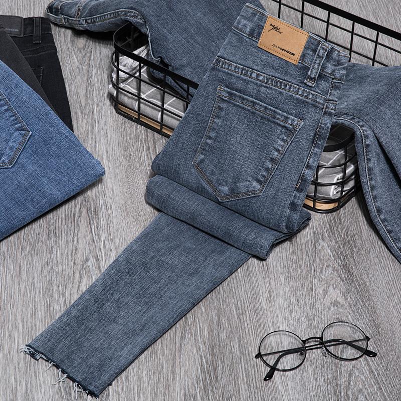 蓝色牛仔裤女高腰2020新款夏季修身显瘦弹力薄款小脚毛边九分铅笔