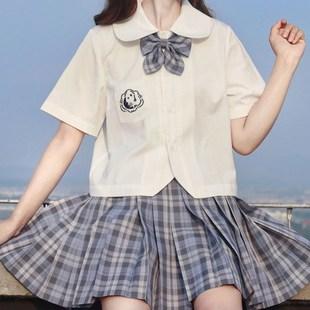 白無本短袖娃娃領日系JK制服上衣角襟白日系困困熊學院軟妹襯衫