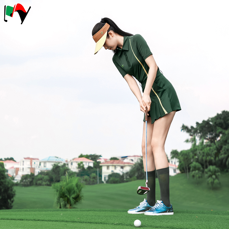 My golf womens new military green ball suit moisture wicking quick drying Lapel short sleeve top, skirt, pants and shorts