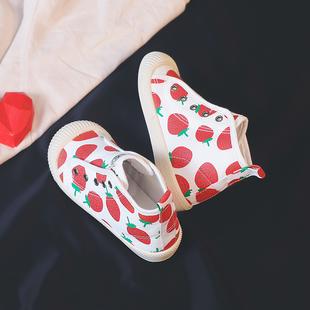 儿童高帮帆布鞋女童小白鞋2019秋季新款透气板鞋宝宝幼儿园室内鞋