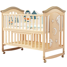 New-born baby bed splicing large solid wood lacquerless bedside bed European-style baby BB multi-functional cradle bed for children