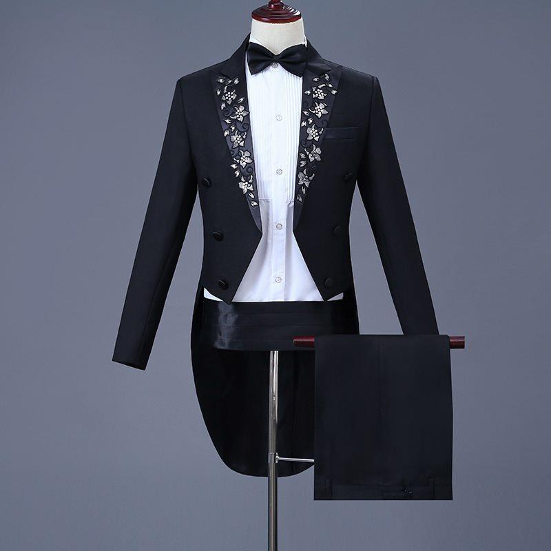 New tuxedo mens performance suit suit new Decal piano performance tuxedo adult Chorus