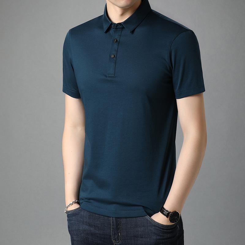 肯梵图男士中青年夏季新款短袖T恤polo衫商务风男纯色上衣桑蚕丝t