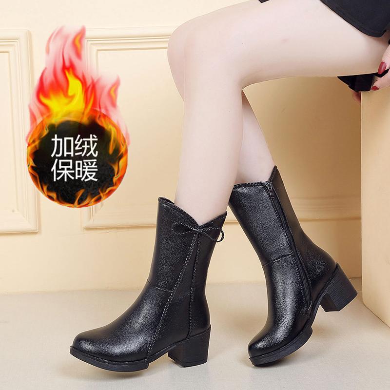 中筒靴女冬季加绒保暖马丁靴粗跟中跟2019新款百搭性感显瘦靴子潮