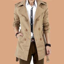 春秋款风衣男中长款韩版修身学生外套青少年薄款大衣休闲大码男装