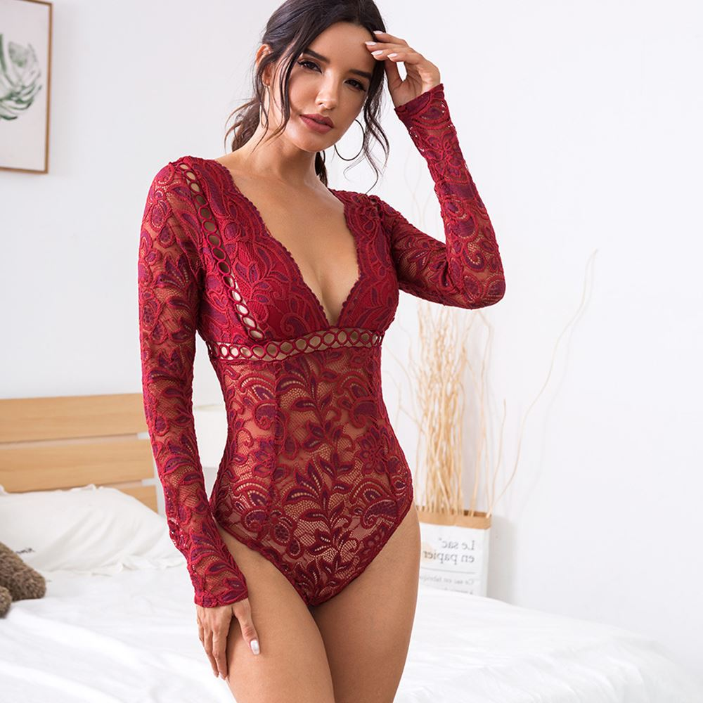 New women's lace openwork perspective deep V bodysuit,可领取元淘宝优惠券
