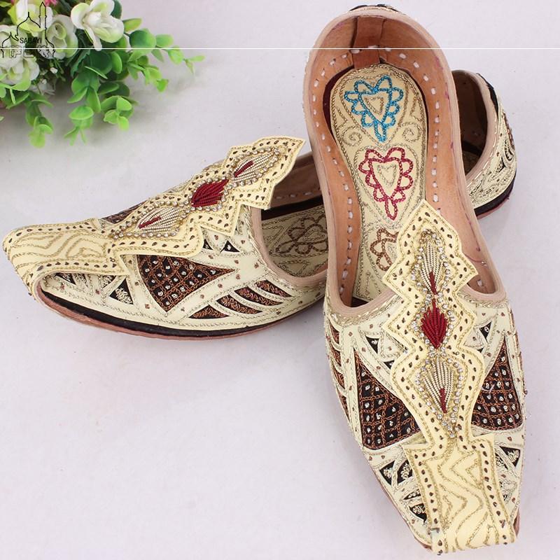 巴基斯坦印度手工男士勾魂鞋民族风特色缝制牛皮男鞋限量版精品鞋